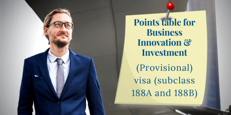 Points table for Business Innovation & Investment (Provisional) visa (subclass 188A and 188B)